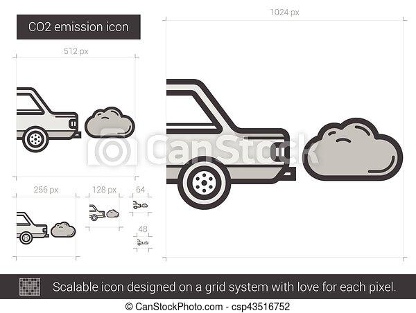 CO2 emission line icon. - csp43516752