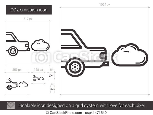 CO2 emission line icon. - csp41471540