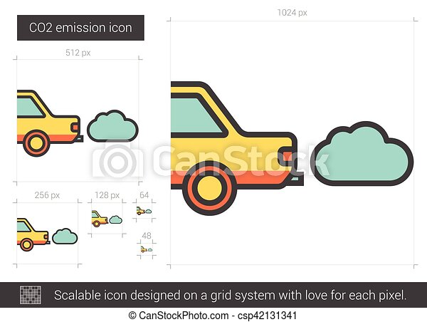 CO2 emission line icon. - csp42131341