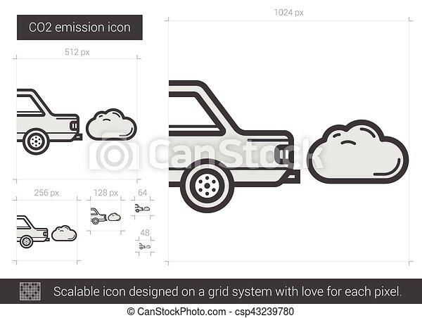 CO2 emission line icon. - csp43239780