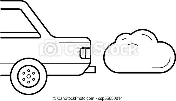 CO2 emission vector line icon. - csp55650014