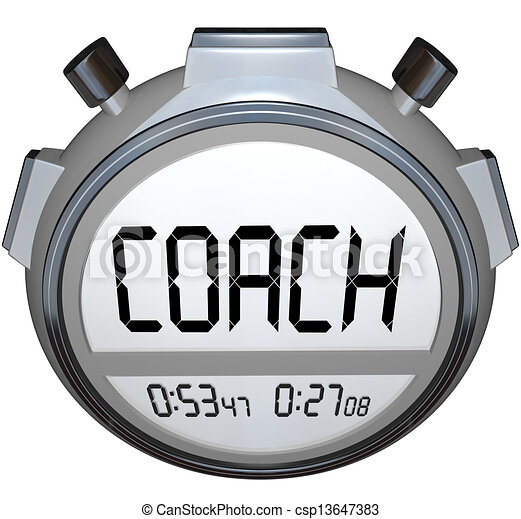Coach Stopwatch Timer Train Skills for Achieving Success - csp13647383