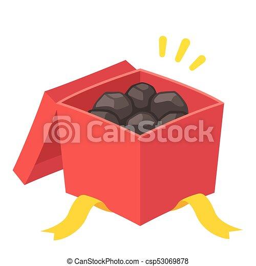 Coal christmas gift. Christmas gift box filled with coal, prank ...