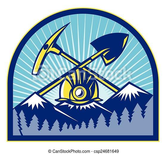 coal-miner-hardhat-pickaxe-mountains - csp24681649
