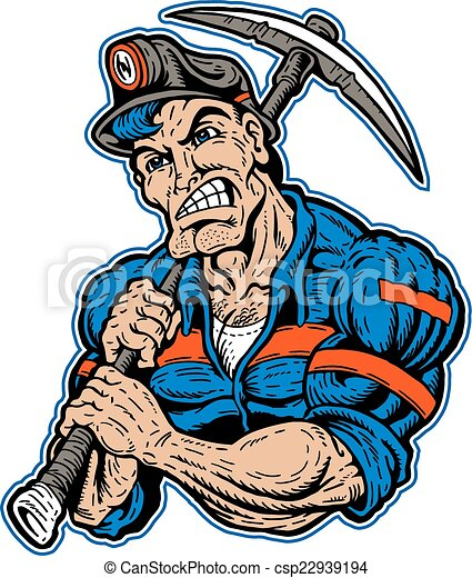 muscular coal miner with pick ax and stripes on his eps vectors rh canstockphoto com coal miner clip art free download coal mine clip art free