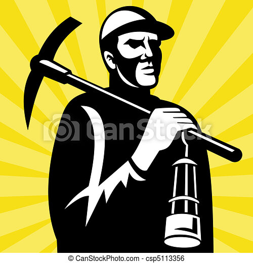 illustration of a coal miner with pickax and lamp viewed from a low rh canstockphoto com coal miner clip art free coal miner clipart black and white