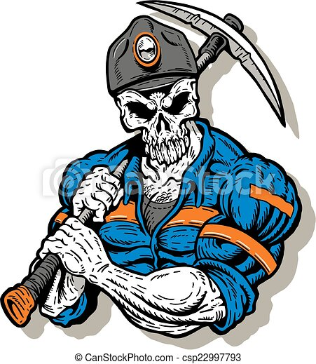 coal miner with skull face - csp22997793