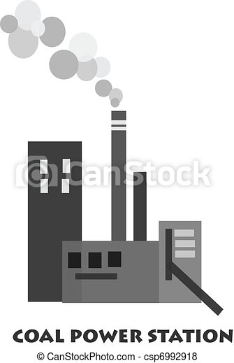 Coal power station - vector. Polution from coal power ...