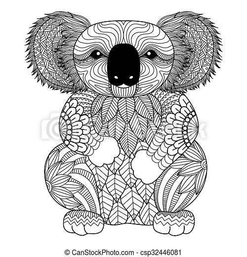 Coala Coloring Book Drawing Zentangle Koala For Page