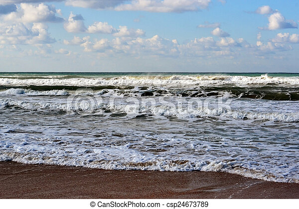 Coast and waves of the Black Sea. - csp24673789