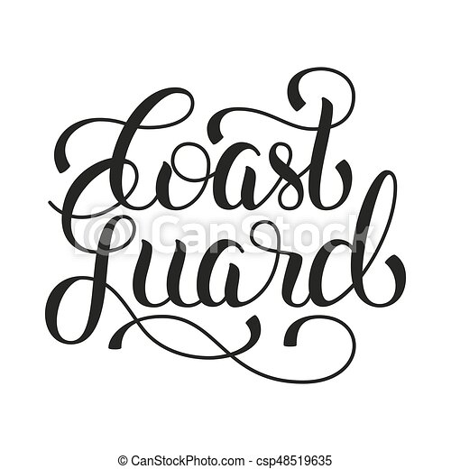 coast guard hand lettering on white background vector vectors rh canstockphoto com coast guard clipart us coast guard clipart