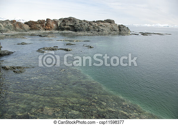 Coast of the Antarctic islands summer day. - csp11598377