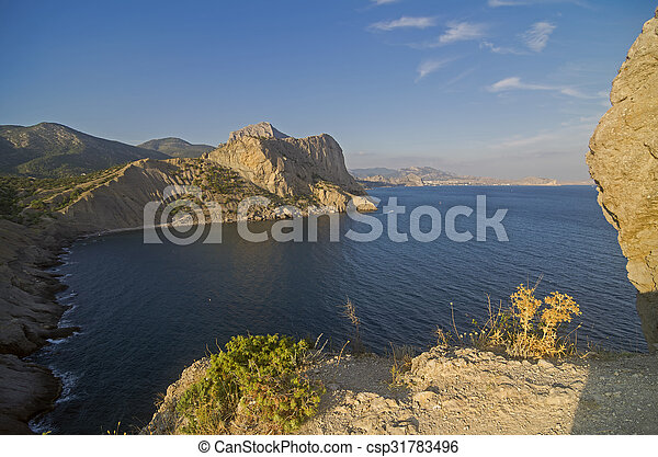 Coastal cliffs under the evening sun. Crimea. - csp31783496