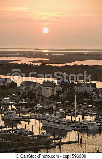 Coastal homes and marina. - csp1596300