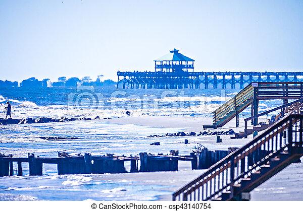 coastal scenes around folly beach south carolina - csp43140754