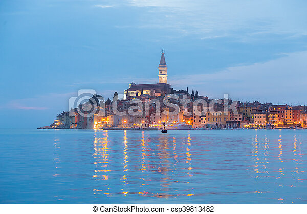 Coastal town of Rovinj, Istria, Croatia in sunset. - csp39813482