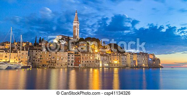 Coastal town of Rovinj, Istria, Croatia in sunset. - csp41134326