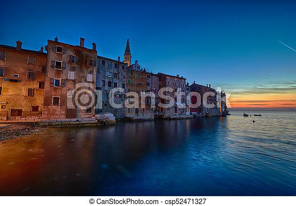 Coastal town of Rovinj, Istria, Croatia in sunset. Rovin beauty antiq city - csp52471327