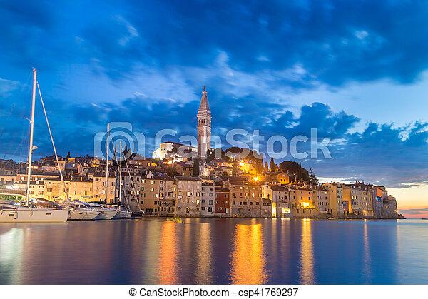 Coastal town of Rovinj, Istria, Croatia in sunset. - csp41769297