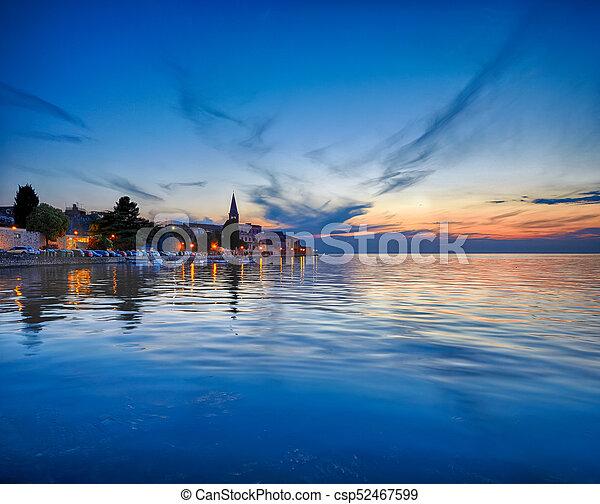 Coastal town of Rovinj, Istria, Croatia in sunset. Rovin beauty antiq city - csp52467599