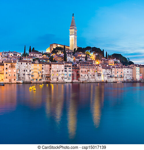 Coastal town of Rovinj, Istria, Croatia. - csp15017139