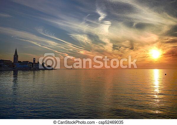 Coastal town of Rovinj, Istria, Croatia in sunset. Rovin beauty antiq city - csp52469035