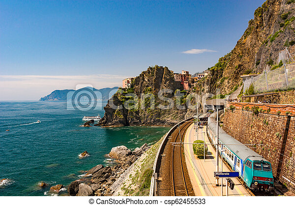 Coastal train station at picturesque seascape view. - csp62455533