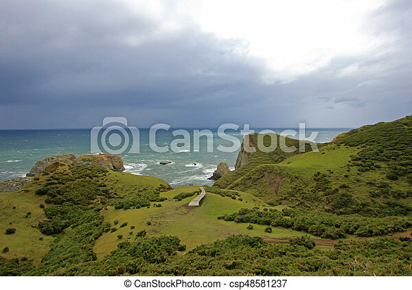 Coastal view of the Muelle De Las Almas, ocean in the background, Chiloe Island, Chile - csp48581237