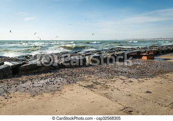 Coastline of the Sea of Marmara. Seabirds in Istanbul, Turkey - csp32568305