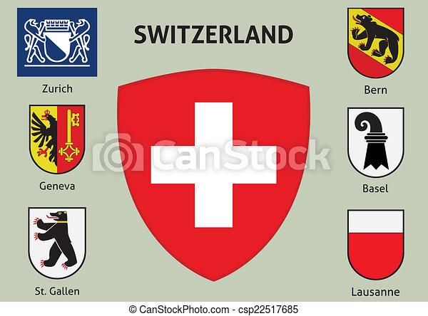 Coat of arms. Cities of Switzerland - csp22517685