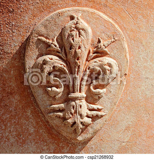 Coat of Arms of Florence in tuscan  terracotta - csp21268932