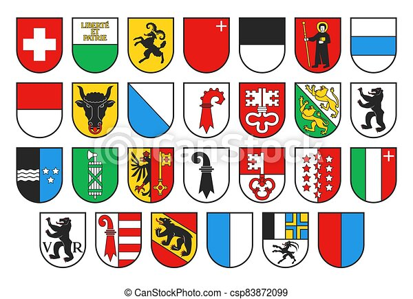 Coat of arms of Switzerland and Swiss cantons - csp83872099