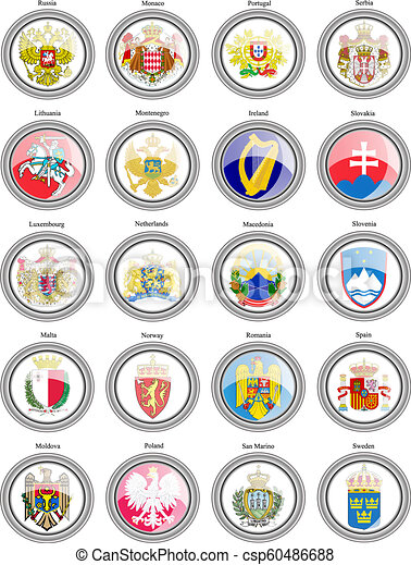 Coat of arms of the European countries. - csp60486688