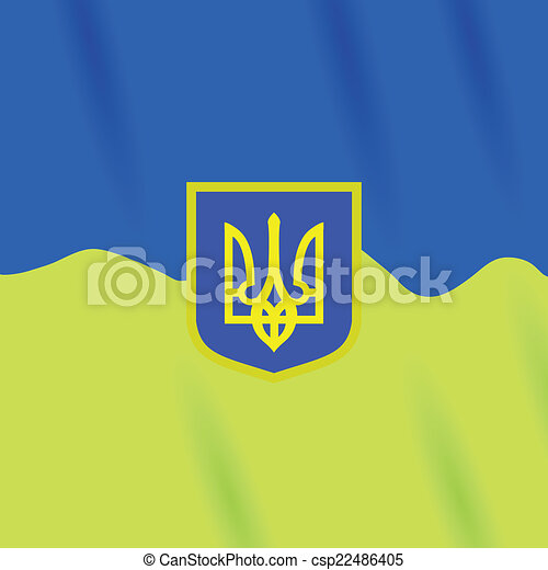 Coat Of Arms Of Ukraine Colorful Illustration With Coat Of Arms Of