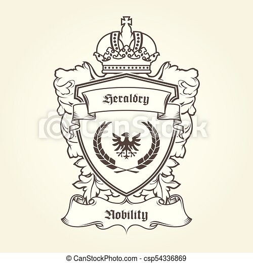 Coat of arms template with heraldic eagle, shield, crown and banner - csp54336869