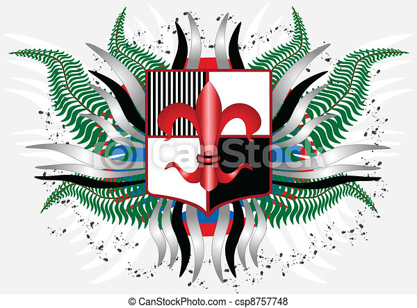 Coat of arms with a red lily - csp8757748