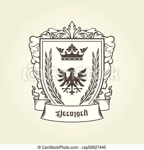 Coat of arms with heraldic eagle on shield, imperial emblem - csp56827445