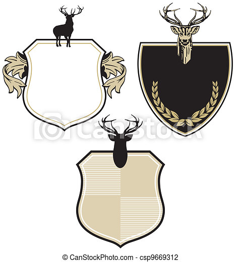 Coat of arms with three deer - csp9669312