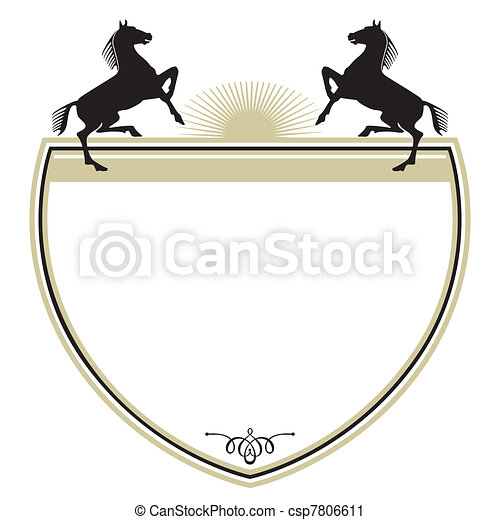 Coat of arms with two horses - csp7806611