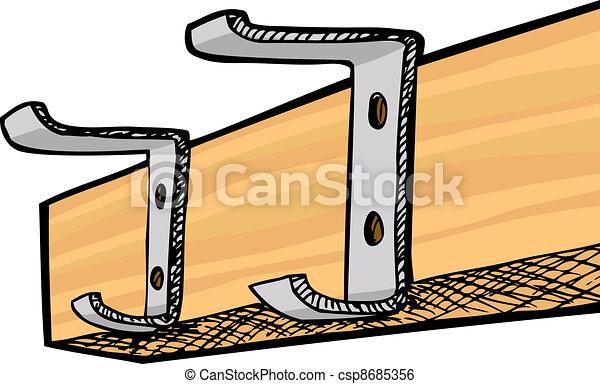 Coat Rack Closeup Empty Coat Rack With Two Hooks Isolated Over White Impressive Coat Rack Clipart