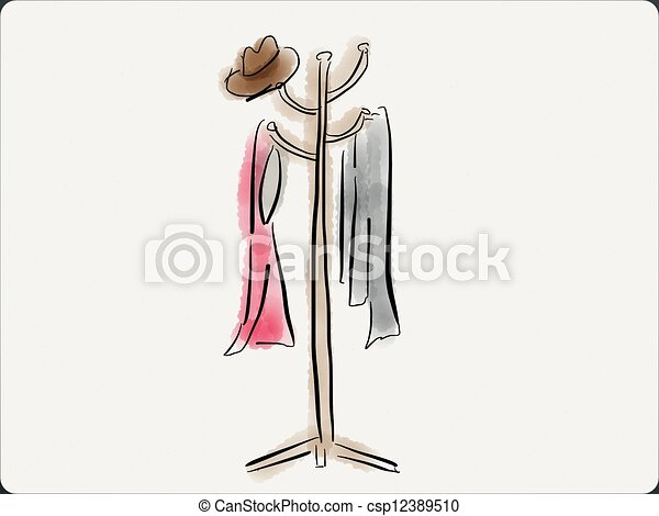 Coat Tree Coat Rack With Two Coats And A Hat Awesome Coat Rack Clipart