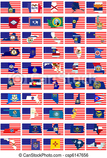 Coats Of Arms Of States Of The Usa Symbols Of Us States Against