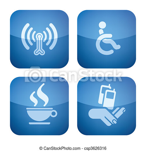 Cobalt 2D Squared Icons Set: Hotel - csp3626316