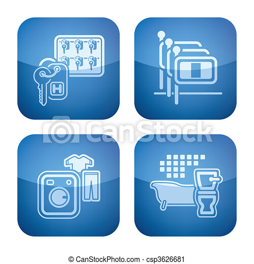 Cobalt 2D Squared Icons Set: Hotel - csp3626681