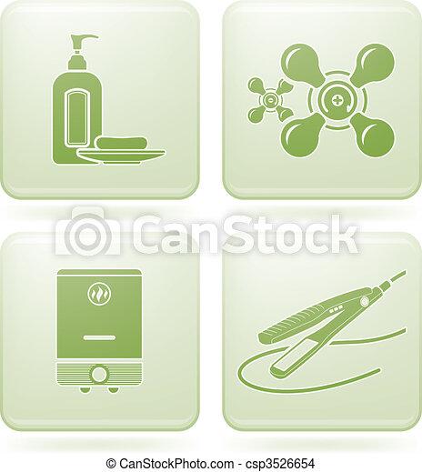 Cobalt Square 2D Icons Set: Bathroom - csp3526654