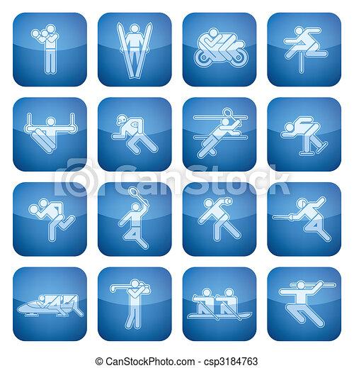 Cobalt Square 2D Icons Set: Sport - csp3184763