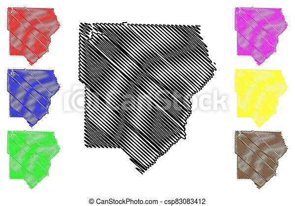 Cobb County, Georgia (U.S. county, United States of America,USA, U.S., US) map vector illustration, scribble sketch Cobb map - csp83083412