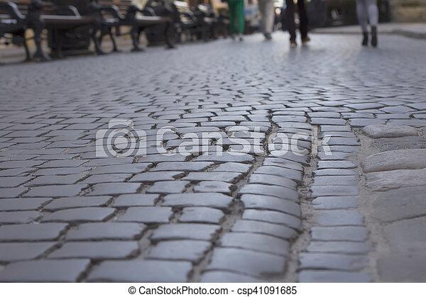 Cobblestones at the square in Lviv - csp41091685