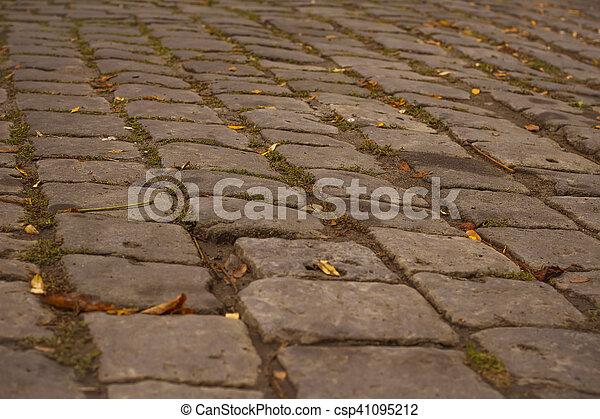 Cobblestones in the road - csp41095212