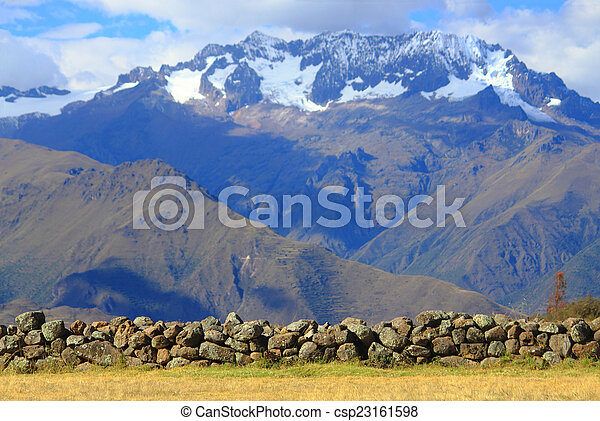 cobblestones on the background of mountains - csp23161598